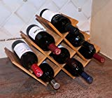 DisplayGifts W Shape 8 Bottle Tabletop Bamboo Wine Rack, WN-WR004