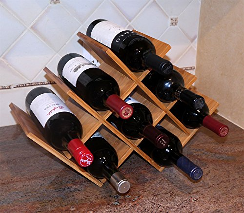 DisplayGifts W Shape 8 Bottle Tabletop Bamboo Wine Rack, WN-WR004 by DisplayGifts