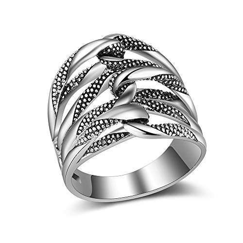 Mytys Oxidized Silver Hollow Knot Rope Weave Ring Antique Rings Comfort Fit Band Ring Size 6