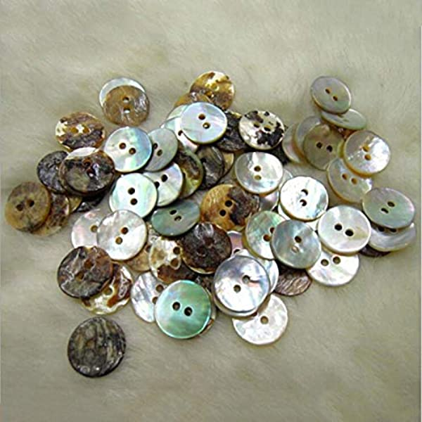 H4290 Beads4crafts LARGE NATURAL MOTHER OF PEARL SHELL BUTTONS PEARLESCENT ROUND SEWING *2 SIZES* 27mm 5 Pack