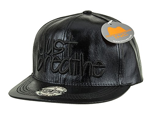 TNC Glossy Synthetic Leather Snapback Black