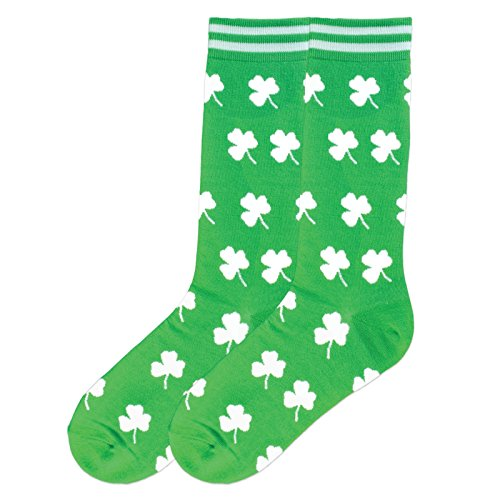 K. Bell Men's Classics Novelty Crew Socks, Shamrocks (Green), Shoe Size: 6-12 (Funny Irish Leprechaun)