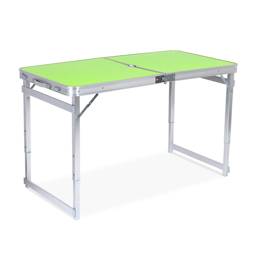 SHELFDQ Convenient Folding Table - Adjustable Height Aluminum Deformation Table for Indoor and Outdoor Use Modern (Color : Green)