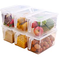 Freezer Storage Container Keep Fresh, Fridge/Refrigerator Storage Bin Box with Lid & Handle, Stackable Food Organizer Keeper for Dumplings, Vegetables, Meat, Fish, BPA-Free PP