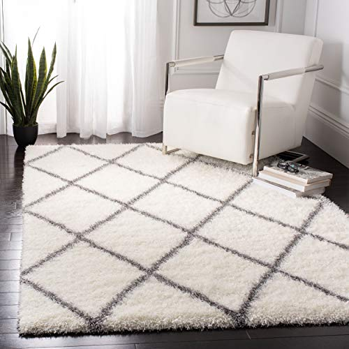 Safavieh Montreal Shag Collection SGM831B Ivory and Grey Area Rug 4 x 6