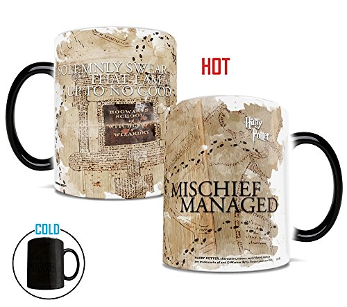 Morphing Mugs I Solemnly Swear I Am Up To No Good Marauders Map Mischief Managed Harry Potter Color Changing Heat Mug - 11 Ounces