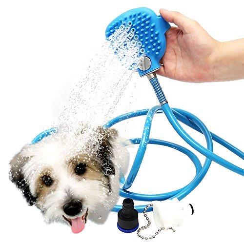 Price comparison product image AUKUK Pet Bathing Tool,  Pet / Cat / Dog / Horse Shower Sprayer and Scrubber-Pet Grooming / Bath / Massager / Shampoo Brush (Blue)