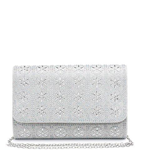 Clutch Ladies ME68030 Diamante Handbag Women's Evening Bag Glitter White Party Envelope q1zrPwE1