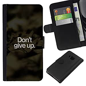 LECELL--Cuero de la tarjeta la carpeta del tirón Smartphone Slots Protección Holder For HTC One M7 -- No te rindas --
