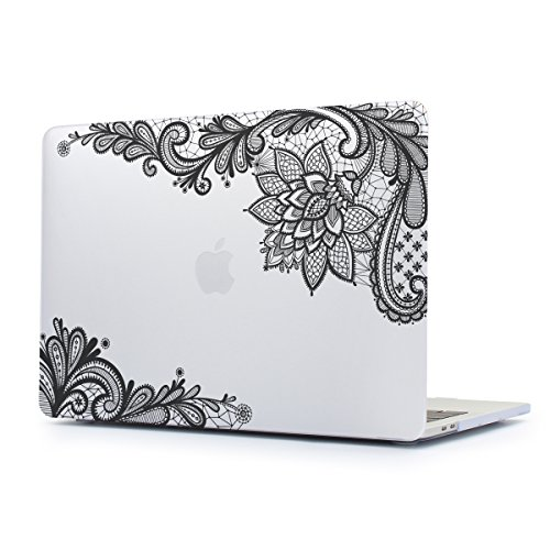 Dongke New MacBook Pro 13 Case 2017 & 2016 Release,Stylish Lace Design for Lady Frosted Sleeve Cover for Apple MacBook Pro 13 inch with /without Multi-Touch Bar (Model:A1706/A1708) (Transparent)