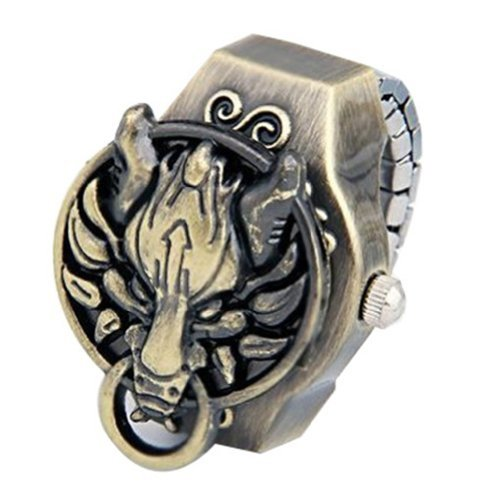 DreamsEden Copper Dragon Clamshell Ring Watch - Vintage Quartz Finger Watch (With Gift Box and Greeting Card)