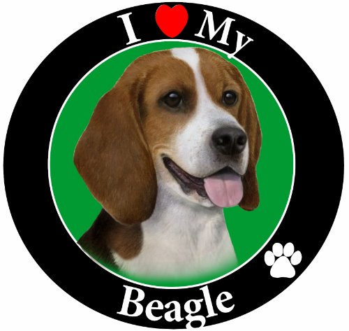 E&S Pets I Love My Beagle Car Magnet with Realistic Looking Beagle Photograph in The Center Covered in UV Gloss for Weather and Fading Protection Circle Shaped Magnet Measures 5.25 Inches Diameter