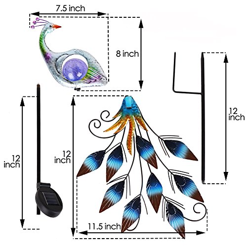 """Hannah's Cottage 31.5"""" Outdoor Paradise Metal Garden Stake with Solar Led Lights, Decorative Solar Peacock Stake for Garden, Patio, Backyard and Outdoor (Green and Blue) by Hannah's Cottage (Image #2)"""