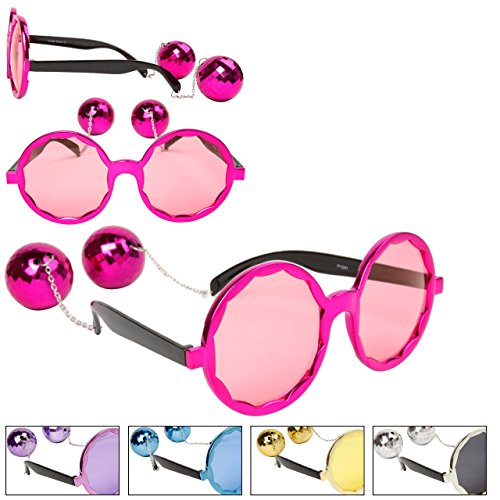FancyG Party Costume Halloween Disco Balls Style Spectacles Glasses Frame Eyewears - Purple