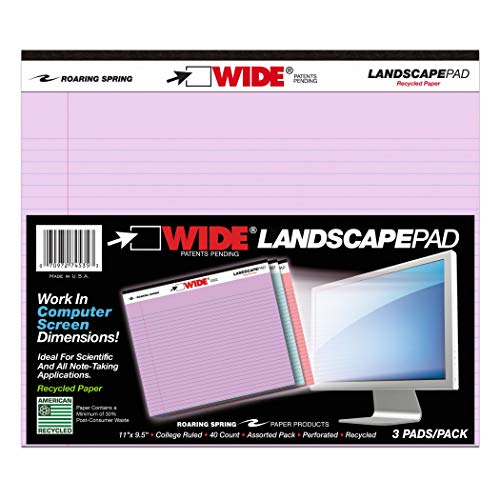(Enviroshades ROA74535BN Legal Pad, Landscape, Orchid/Blue/Pink, 3 Per Pack, 2 Packs)