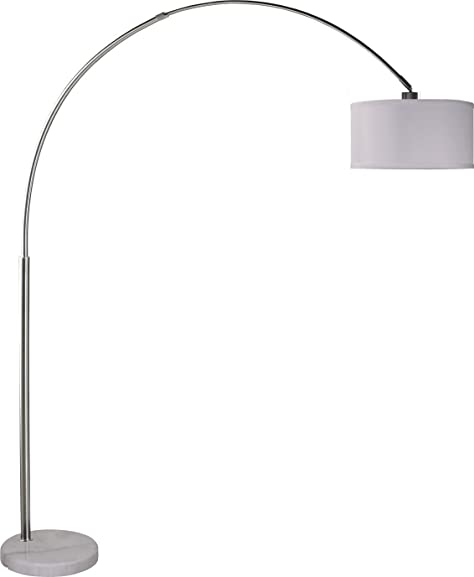 "SH Lighting 6938WH 81""H Brush Steel Adjustable Arching Floor Lamp"