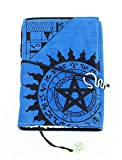 Handmade Suede Mystic Zodiac Magickal Spell Book Journal in Sapphire Blue Color