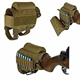 (US) FIRECLUB Rifle Buttstock, Hunting Shooting Tactical Cheek Rest Pad Ammo Pouch with 7 Shells Holder (Tan)