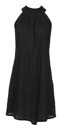 Tymhgt-MX Womens Summer Beach sin mangas plisado vestido de fiesta de irregulares Black XL