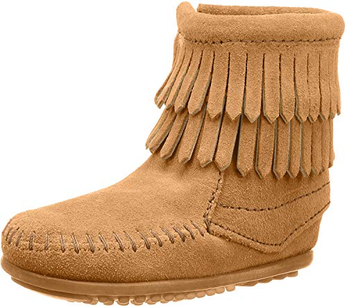 Minnetonka Double Fringe Side Zip Boot (Toddler/Little Kid/Big Kid), Taupe, 3 M US Little Kid