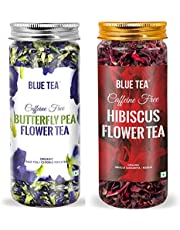 BLUE TEA - Combo Pack - Blue Tea Butterfly Pea Flower Tea and Egyptian Hibiscus Flower Herbal Tea (1.76 Oz / 50 g) - FARM PACKED for Freshness - Caffeine Free - Natural Colorant