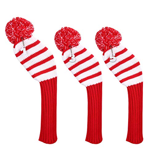 LONGCHAO 3 Pcs Knitted Golf Headcover Driver Cover, Golf Club Wood Head Covers Fit for Driver Wood, Fairway Wood and Hybrid(UT) with Rotating Number Tags for Male/Female Golfers (3 - 3 Pack Sock Headcovers