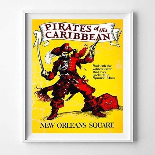Disneyland Pirates of the Caribbean Home Decor Print Wall Art Poster Office Decoration Living Room Gift Idea Giclee Vintage Artwork Reproduction - Unframed ()