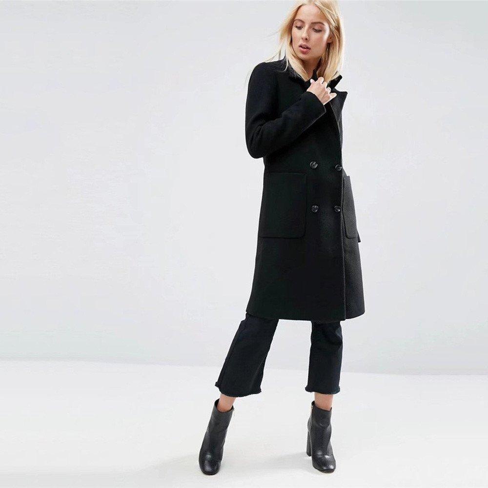 Pugaomsiw Simple Mode Wolle Mantel Winter Frauen Zweireiher Knie Slim im Langen schwarzen Mantel,m,schwarz