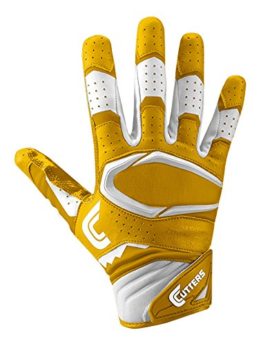 Cutters S451 Rev Pro 2.0 Receiver, Safety, Cornerback Football Gloves with Ultra Sticky C-Tack Grip Adult and Youth,