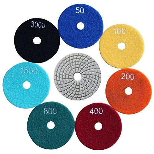 Easy Light Diamond Wet Polishing Pads Sanding Grinding Discs Tools 3 Inch Grit 50#-3000# (7 Pcs Set) for Granite Marble Stone