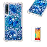 Funyye Liquid Glitter Case for Samsung Galaxy A7 2018/A750,Luxury Sparkly Floating Water Liquid Transparent Silicone TPU Case for Samsung Galaxy A7 2018/A750,Ultra Thin Crystal Rubber Durable Shell Bumper Back Protective Case for Samsung Galaxy A7 2018/A750 + 1 x Free Screen Protector,Blue Butterfly