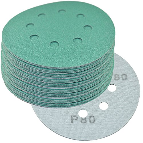 "HQRP 5"" 8-Hole 80-Grit Dustless Hook & Loop Sanding Discs..."