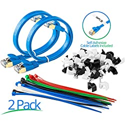 Maximm Cat7 Flat Ethernet Cable - 2 Ft. - Blue - 2 Pack - RJ45 Gold-plated Connectors. 600 MHz, For Computers Network Components - Includes Cable Ties, Labels and Clips