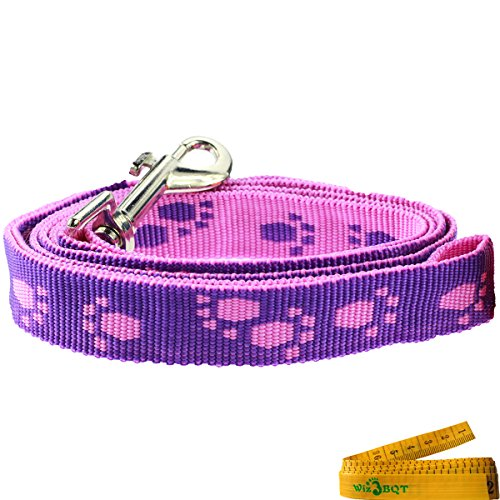 Image of Wiz BBQT Pink and Purple Adjustable Breakaway Dog Cat Pet Harness and Leash Set with Footprint for Dogs Cats Pets in Spring Summer Autumn (Medium)