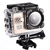 Acouto Action Camera Ultra HD 1080P 12M 2 Inch Screen Wifi Sport Cam 90 Degree Wide Angle Underwater 30m with Waterproof Housing Case and More Accessories Kits (gold)