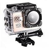 Mugast Mini Waterproof Action Camcorder,Outdoor 30m Underwater Sports DV Recorder Camera with 2in High Definition Screen(Gold)