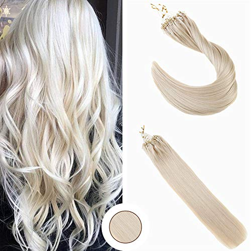 Ugeat 20inch 100 Gram Micro Ring Beads Hair Extensions Solid Color #60 Platinum Blonde Natural Hair Extensions 100% Remy Human Hair