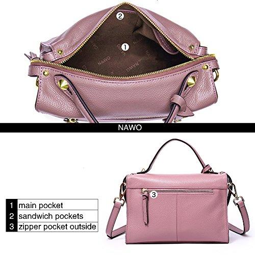 Cross Top NAWO Shoulder Purse Totes Bags taro Women's 8 Handbags Body Leather Hobo pink Handle RnwXqnzS