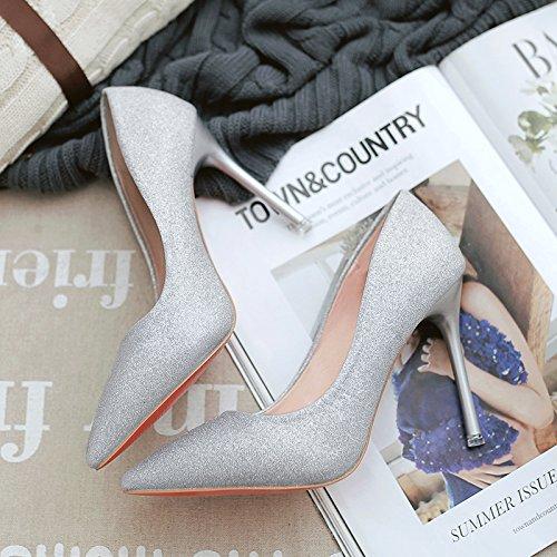 Calzature alti 37 punta cm e Wild i donna con tacchi Nozze argento colore yalanshop Calzature argento Nozze 10 bene qpn6x6R