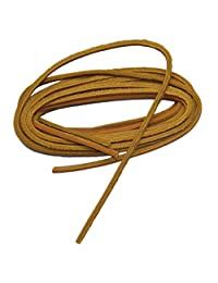 "45 Inch Tan Boat Shoe Leather Around the Heel Lacing Kit (1 pair tan leather lace w/ 5"" lacing needle)"