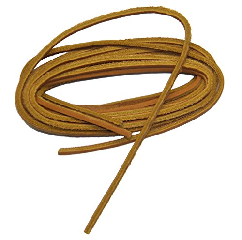 GREATLACES 1/8 inch Square Cut Leather Boat Shoe Replacement Shoelaces Leather Laces (2 Pair Pack) (48 Inch 122 cm, - Inch Rawhide 48