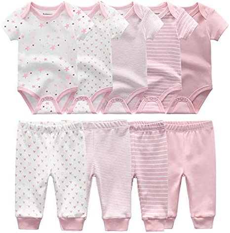 MAMIMAKA Baby Bodysuits Baby Clothes Short Sleeve Bodysuits Onesies Bodysuit Cotton 5-Pack for Baby Boys and Girls