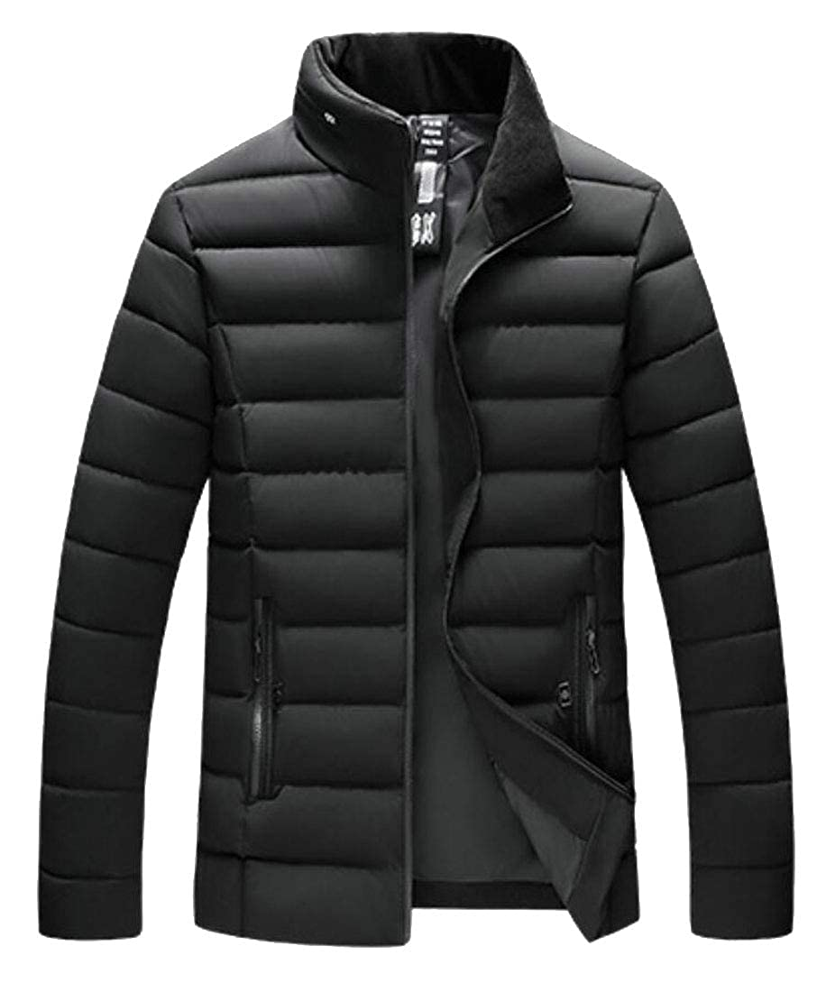 desolateness Mens Stand Zipper Thick Coat Jacket Slim Fit Parka Outerwear