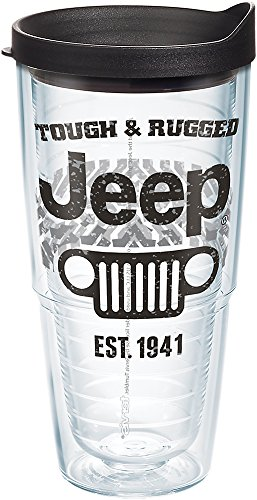 Tervis 1268422 Jeep Brand - Tough and Rugged Tumbler with Wrap and Black Lid 24oz, Clear