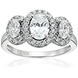 Amazon Collection Cubic Zirconia 3 Stone Cluster in Sterling Silver Engagement Ring, Size 6