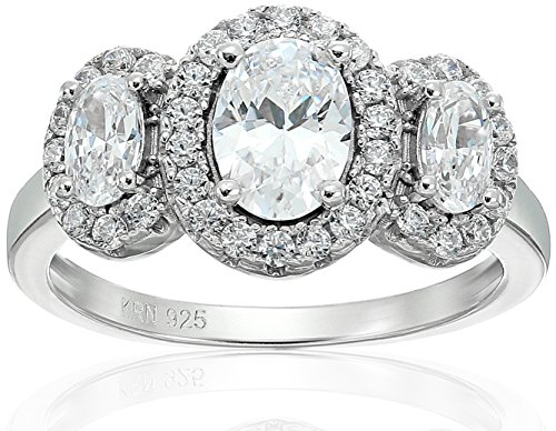 3 Stone Twist (Amazon Collection Cubic Zirconia 3 Stone Cluster in Sterling Silver Engagement Ring, Size 6)