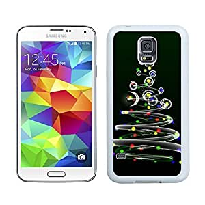 Cool Design Beautiful Stars Moon Colorful Christmas Tree Samsung Galaxy S5 White Silicone Case,Samsung I9600 Phone Case