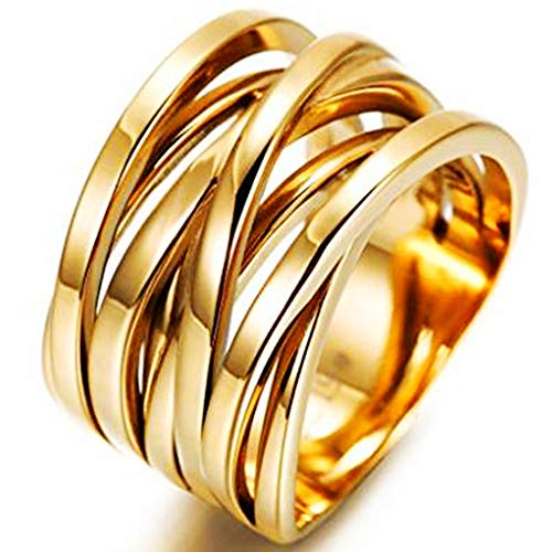 - Jude Jewelers Stainless Steel Knotted Braided Wave Wrap Ring Promise Statement Anniversary Wedding Cocktail Party (Gold, 11)