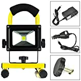EverBright 5W 800LM Amber Body Portable Ultra Bright Cordless Rechargeable Led Flood Spot Work Light Lamp Water Resistant Waterproof Work Light, Flood light, LED Work Lamp With AC Charge & Car Charge