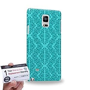 Case88 [Samsung Galaxy Note 4] 3D impresa Carcasa/Funda dura para & Tarjeta de garantía - Art Aztec Carpet Mint Floral